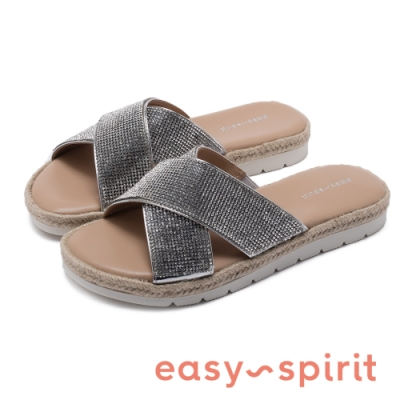 Easy Spirit-seTIARAS 華麗亮鑽 拼接草編交叉束帶彈性拖鞋-銀棕