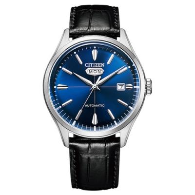 CITIZEN星辰C7系列Mechanical小牛皮自動機械錶-黑藍色40.2mm(NH8390-20L)