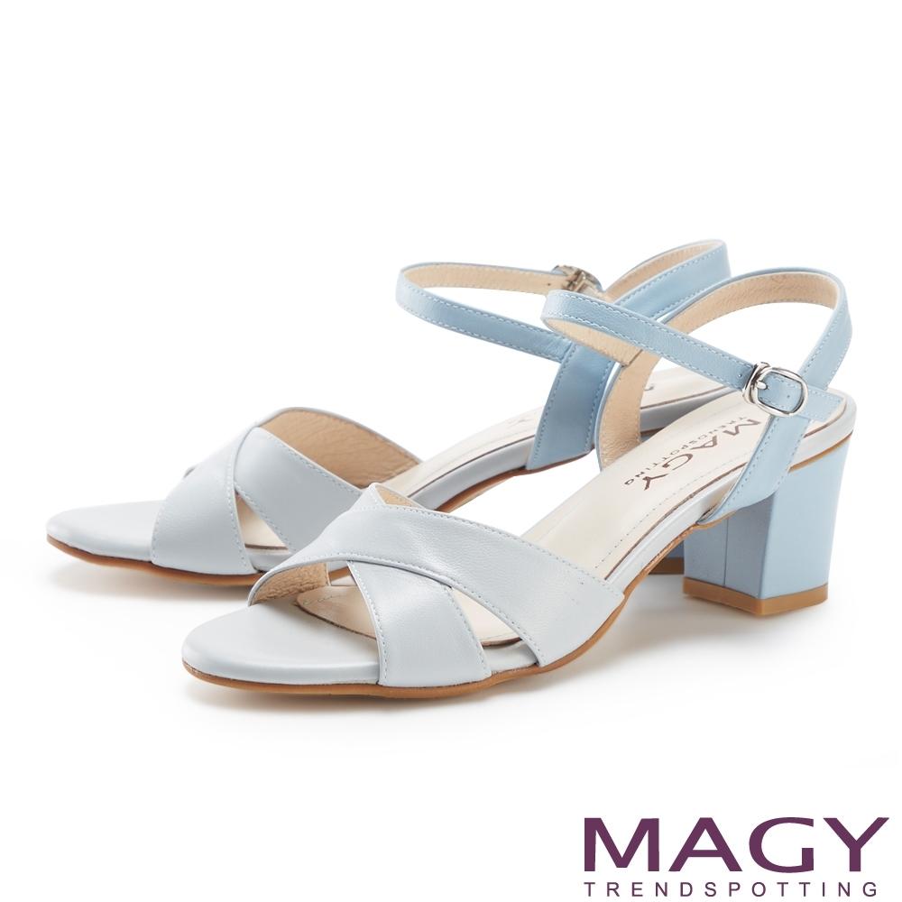 MAGY 造型交叉羊皮舒適粗跟 女 涼鞋 淺藍
