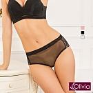 Olivia 無鋼圈歐式玻璃柔紗無痕中腰三角內褲-黑色