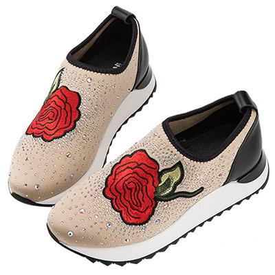 Robinlo 玫瑰刺繡貼鑽襪子休閒鞋 杏