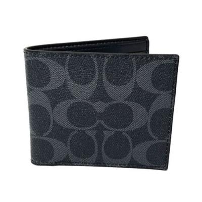 COACH 經典C LOGO PVC皮革6卡照片證件對折輕便短夾(牛仔藍)