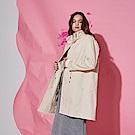 Chaber巧帛 時尚挺版高領抽繩簡約長版風衣大衣外套-奶油色