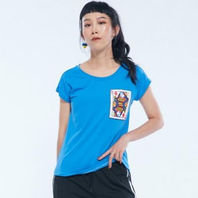 UDOU POKER FACE!落肩小蓋袖T恤(藍)