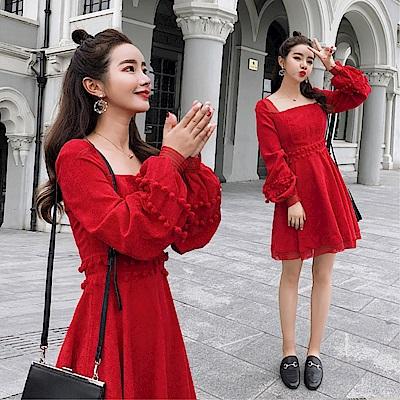 DABI 韓系名媛裙裝燈芯絨收腰性感紅色長袖洋裝