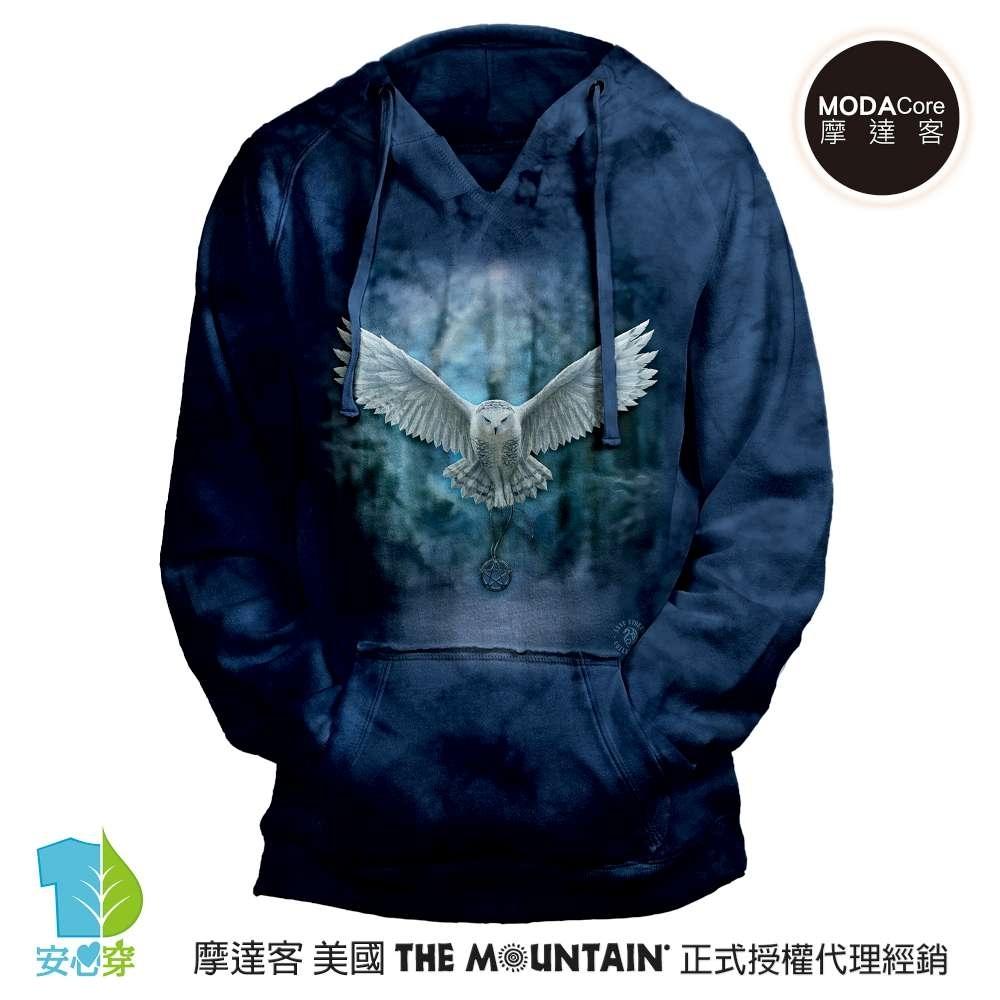 摩達客 預購 美國進口The Mountain 喚之貓頭鷹 女版V領長袖連帽T恤