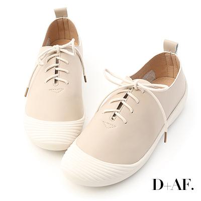 D+AF 休閒穿搭.奶油頭超軟綁帶休閒鞋*杏