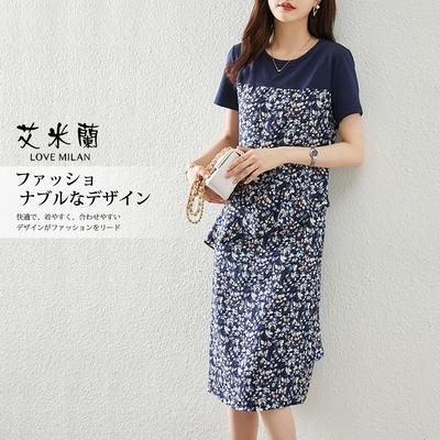 艾米蘭-韓版圓領假兩件浪漫印花造型洋裝-藍(M-XL)