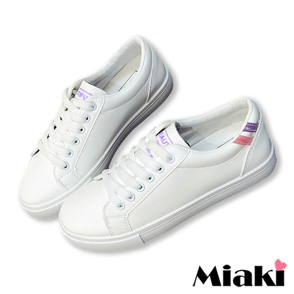 Miaki-休閒鞋穿搭時尚運動小白鞋-粉