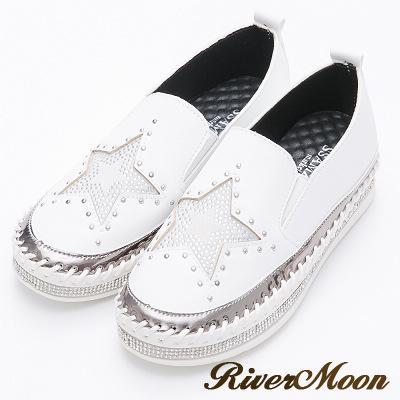 River&Moon韓版經典星星鑽石厚底懶人鞋-白