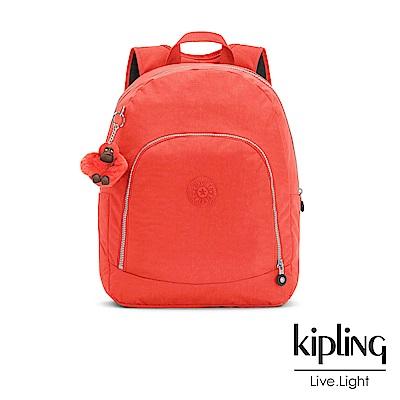 Kipling 後背包 螢光澄素面 -大