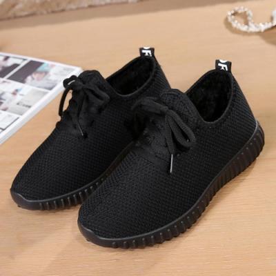 韓國KW美鞋館 單色潮流綁帶款舖絨軟底鞋-黑