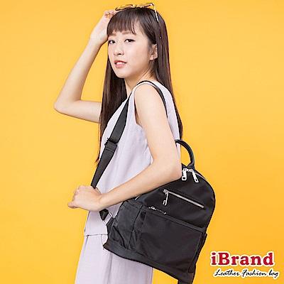iBrand後背包 素面真皮多功能收納後背包-黑
