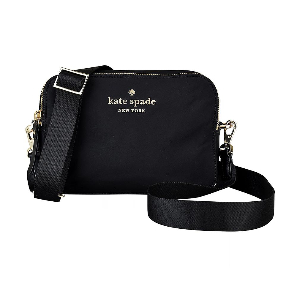 Kate Spade經典黑桃金字LOGO雙層設計尼龍拉鍊斜背包(黑)