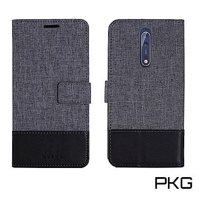 PKG For:Nokia8 側翻保護殼-國際時尚款-黑灰色