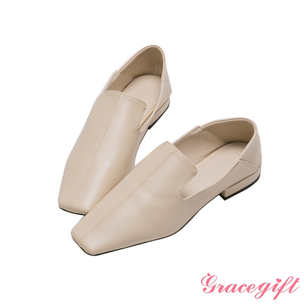 Grace gift-方頭車線2WAY低跟樂福鞋 米白