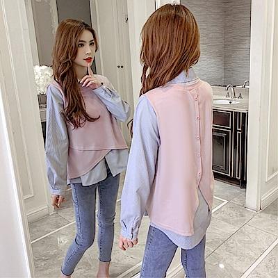 DABI 韓國風不規則假兩件條紋拼接襯衫長袖上衣