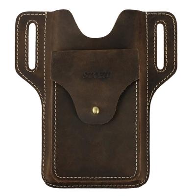 玩皮工坊-真皮頭層瘋馬牛皮復古男士腰包手機包男包-適用6.5吋以下LB772