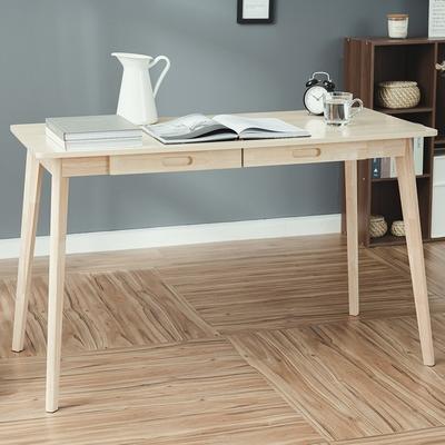 樂嫚妮 簡約雙抽屜工作桌/書桌/辦公桌-寬120深55高74cm-原木色