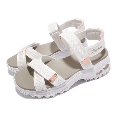 Skechers 涼鞋 D Lites 休閒鞋 魔鬼氈 女鞋 吸震 耐磨 修飾腿部線條 瑜珈鞋墊 白 金 119241WTRG