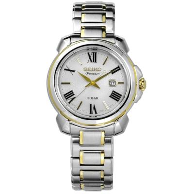 SEIKO 精工 Premier 藍寶石水晶 太陽能 日期 不鏽鋼 手錶-銀色/31mm