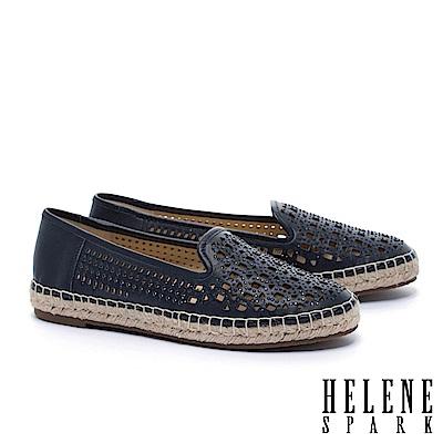 休閒鞋 HELENE SPARK 時尚造型沖孔晶鑽全真皮草編厚底休閒鞋-藍