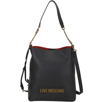 LOVE MOSCHINO 可拆萬用包字母皮革鍊帶手提斜背水桶包(黑色)