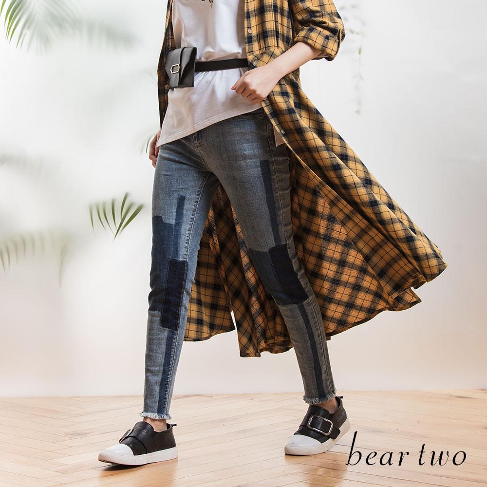beartwo 手工深淺色塊水洗合身丹寧褲(藍色)
