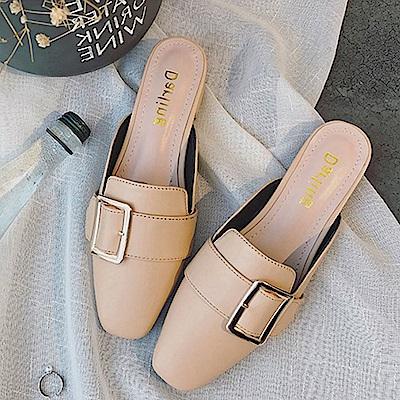韓國KW美鞋館 歡樂單品簡約優雅平底拖鞋-米色