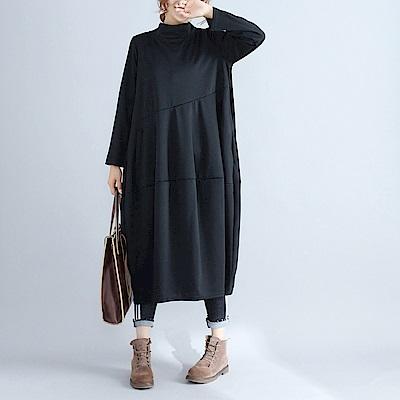 純色小高領寬鬆燈籠裙M-2XL(共四色)-Keer