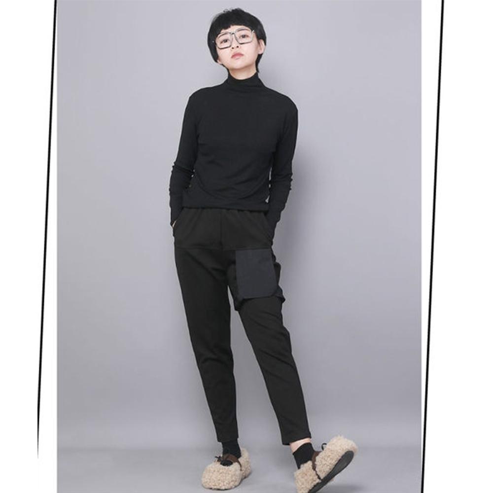 設計所在Style-休閒哈倫褲原創設計寬鬆時尚顯瘦黑色九分褲