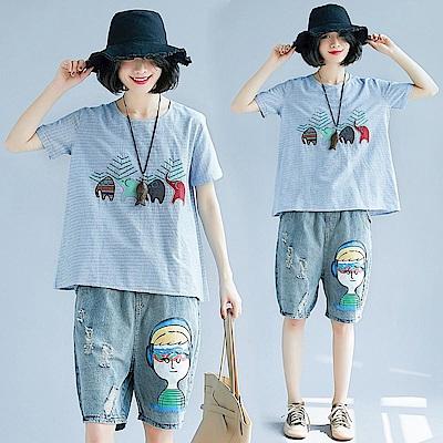 淺藍色民族風大象刺繡上衣-F-Keer
