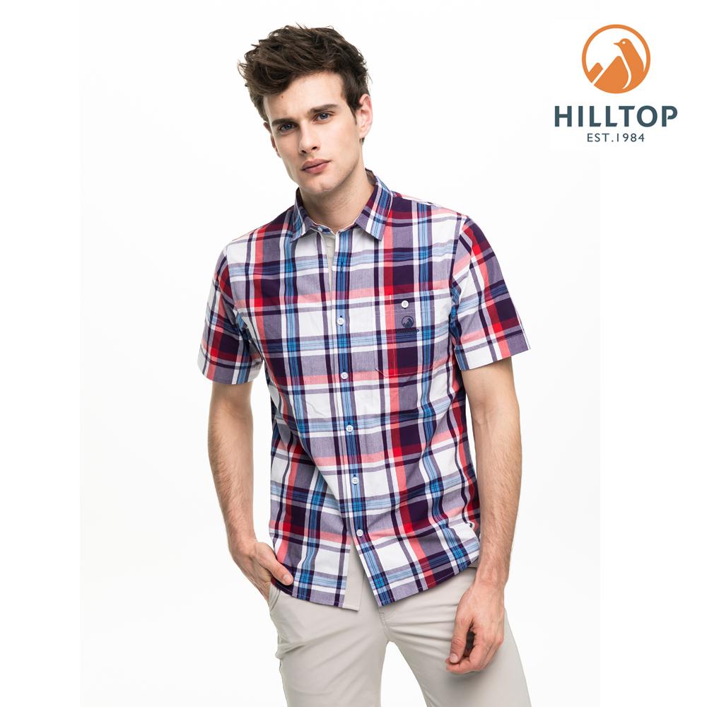 【hilltop山頂鳥】男款吸濕快乾抗UV短袖襯衫S06M67白底紅紫格