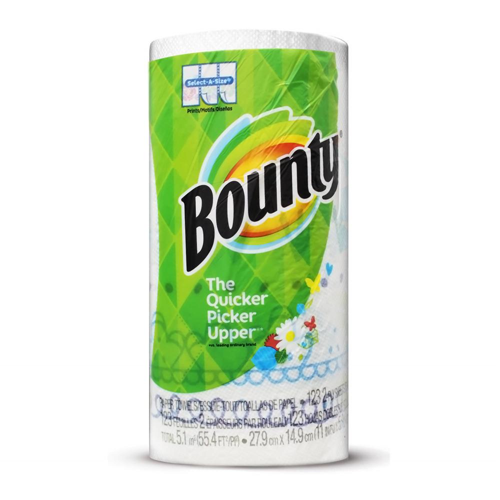 美國Bounty 彩色印花廚房紙巾-隨意撕(123張)/捲
