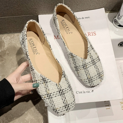 KEITH-WILL時尚鞋館 女人最大柔美愛戀格紋娃娃鞋-米