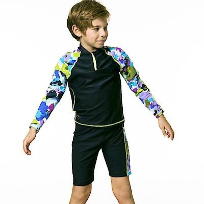 聖手牌 兒童泳裝 防曬防寒兩件式長袖兒童泳裝水母裝