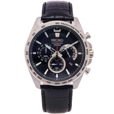 SEIKO 疾風競速風格的計時皮革錶帶手錶(SSB305P1)-黑面X黑色/44mm