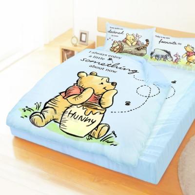 享夢城堡 雙人加大床包涼被四件組-迪士尼小熊維尼Pooh 蜂蜜小事-米黃.藍
