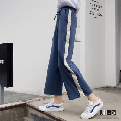JILLI-KO 高腰繫帶闊腿九分褲- 黑/藍