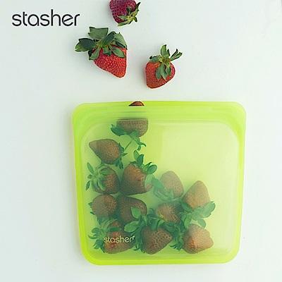 Stasher 方形環保按壓式矽膠密封袋-萊姆綠(快)