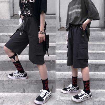 【韓國K.W.】歐美款時尚風格多口袋休閒短闊腿褲