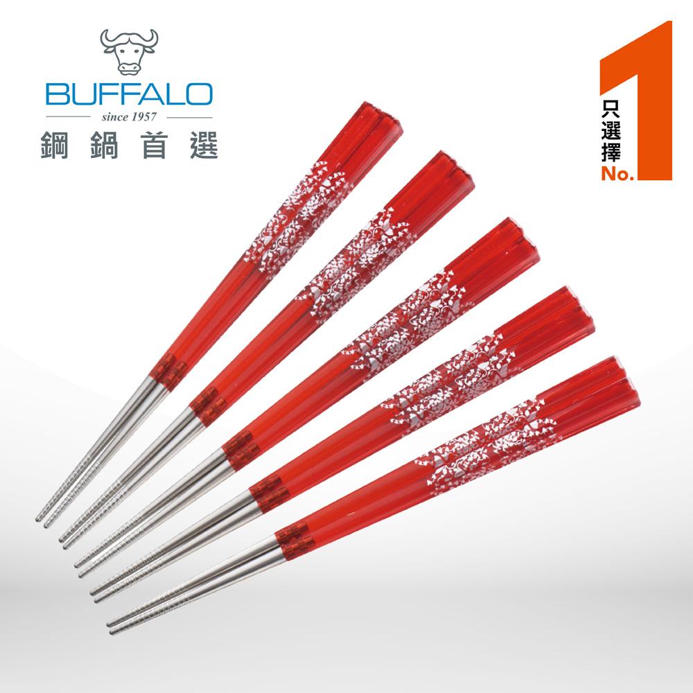 牛頭牌 雅潔複合四角炫彩筷5入組 (紅色)
