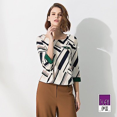 ILEY伊蕾 松石綠配色裝飾圓領寬版印花上衣(米)