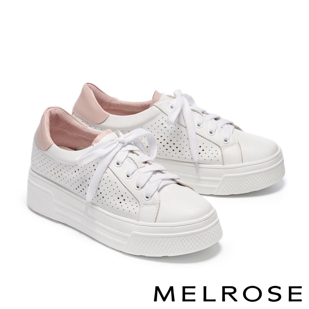 休閒鞋 MELROSE 簡約時尚沖孔雙色全真皮厚底休閒鞋-白
