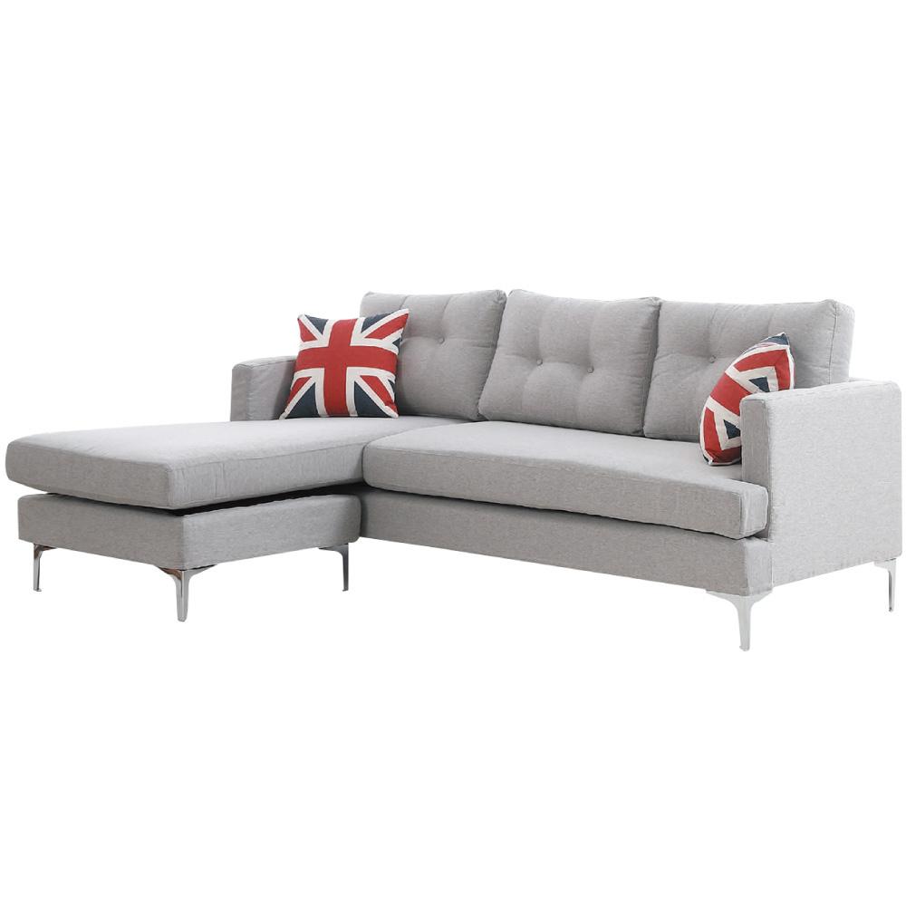 品家居 伊席爾時尚灰緹花布L型沙發組合(三人座+椅凳)-215x140x83cm免組