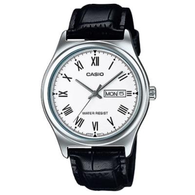 CASIO 時尚風星期日期顯示羅馬指針黑皮帶腕錶(MTP-V006L-7B)白面/38mm