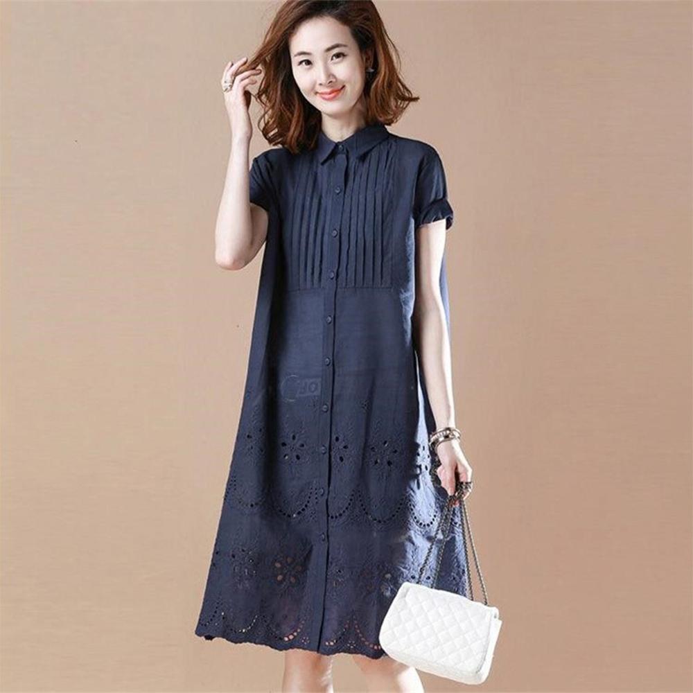 初色  襯衫領繡花連衣裙-深藍色-(M-2XL可選)