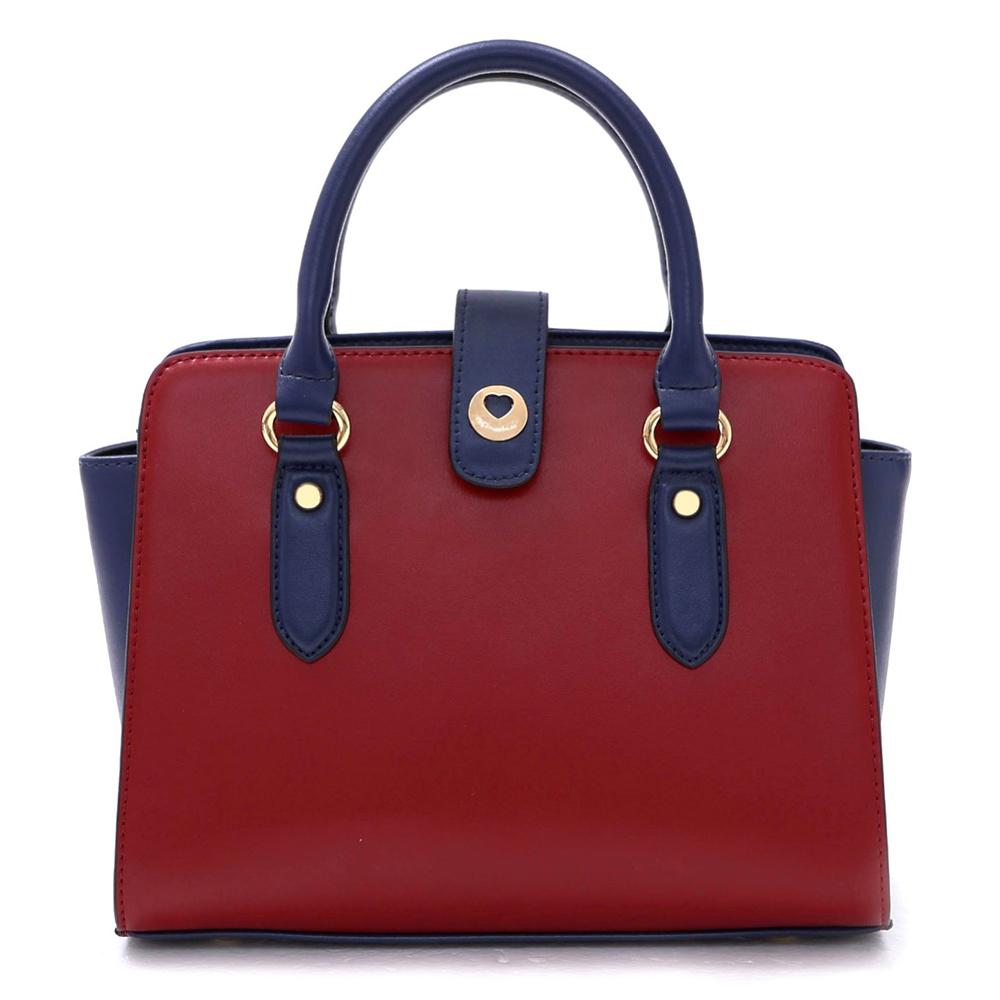 J&M 真皮凱瑟琳法式簡約兩用包 時尚紅