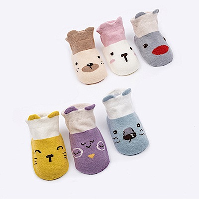 JoyNa卡通防滑地板襪 兒童船襪 -六雙入