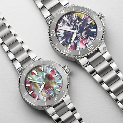 Oris 豪利時 Aquis Upcycle 潔淨海洋 環保日期腕錶 對錶 0173377664150-Set+0173377704150-Set
